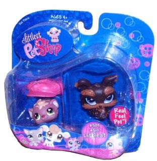 Littlest Pet Shop Littlest Pet Pair Portable Collectible Gift Set   Yorkie Dog (#509) and Guinea Pig (#510): Toys & Games