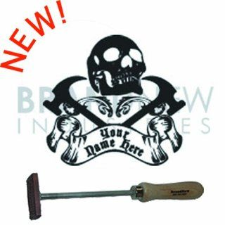 Branding Iron   Flame Heated BN 502F Personalized Skull and Cross Hammers Design