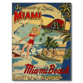 Vintage Miami Beach, Florida, USA   Postcard