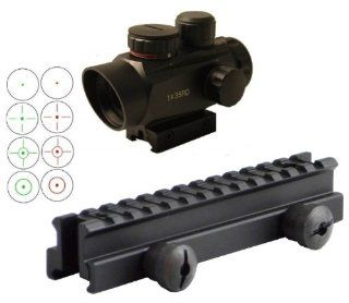 """Ultimate Arms Gear QD Tactical 1"""" Weaver Picatinny High See Thru Stanag Riser Mount For AR15 M4 Flattop Rifle Scope + CQB 1x35 4 Multi Reticle Dual Red / Green Illuminated Reflex Sight With Sunshade Integral Weaver Picatinny Mount Base   Combo Combina"""