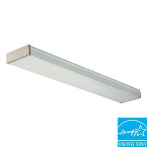 Lithonia Lighting 2 Light Brushed Nickel Fluorescent Decorative Wrap Fixture NEW 2 32 120 RE BN
