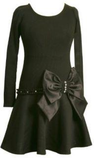 Bonnie Jean Girls 7 16 Drop Waist Black Dress With Ribbon Trim,Black,7 Clothing