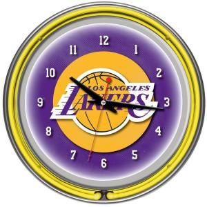Trademark Global 14 in. Los Angeles Lakers NBA Chrome Double Ring Neon Wall Clock NBA1400 LAL
