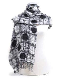 Ruffly Quilt Pattern Viscose Scarf, Black at  Women�s Clothing store