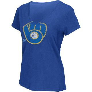 G III Womens Milwaukee Brewers Cooperstown Logo Slub V Neck Short Sleeve T