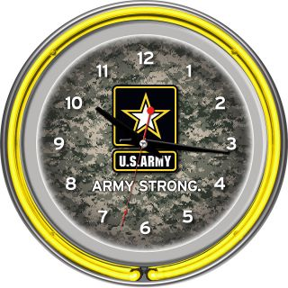 Trademark Global US Army Digital Camo Chrome Double Ring Neon Clock (ARMY1400