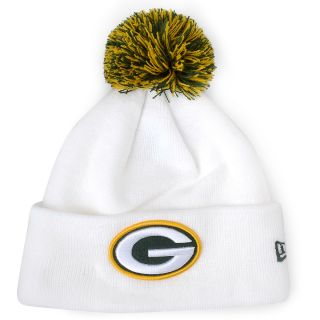 NEW ERA Mens Green Bay Packers Logo White Cuff Pom Knit Hat, Dk.green