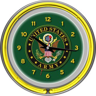 Trademark Global US Army Symbol Chrome Double Ring Neon Clock (ARMY1400 SYM)