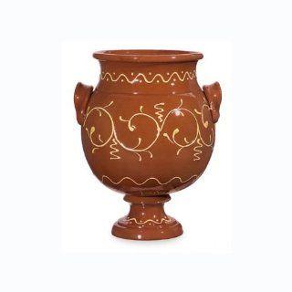 "14"" Burnt Orange Pedestal Urn Planter's Pot with Kokopelli Inspired Design   Decorative Vases"