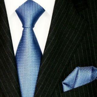 Lorenzo Cana   Luxury Italian 100% Silk Tie Hanky Set Blue White Geometric Patterned Necktie   8447001 at  Men�s Clothing store