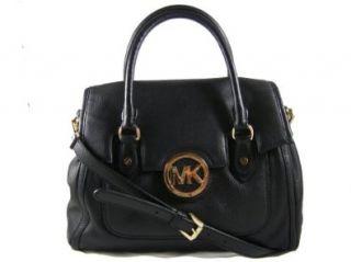 Michael Kors Black Leather Margo LG Shoulder Satchel Tote Handbag: Shoes