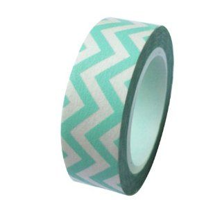 Dress My Cupcake DMC41WT571 Washi Decorative Tape for Gifts and Favors, Aqua Diamond Blue Chevron