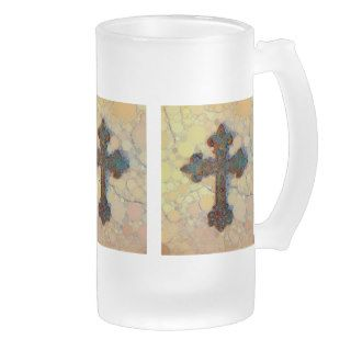 Cool Christian Cross Circle Mosaic Pattern Mug