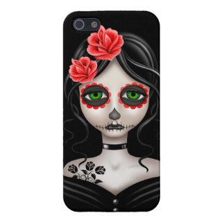 Sad Day of the Dead Girl on Black iPhone 5 Covers