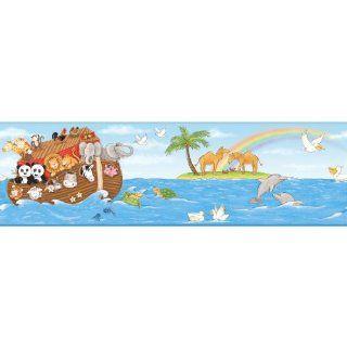 York Wallcoverings YS9174BDSMP Peek A Boo Noah's Ark 8 Inch x 10 Inch Memo Sample Wallpaper Borders, Deep Sea Blue/Medium Sky Blue/Spring Green