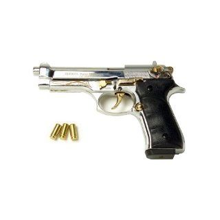 Firat Magnum 92 Blank Firing Replica Gun Nickel/Gold Engraved Finish Sports & Outdoors