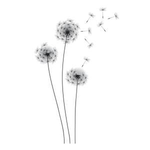 RoomMates 19 in. Black Whimsical Dandelion Peel and Stick Giant Wall Decals RMK2606GM