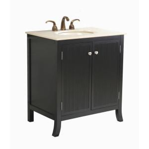 Virtu USA Strasbourg 32 in. Single Basin Vanity in Black with Natural Stone Vanity Top in Crema Marfil DISCONTINUED LS 1031CM