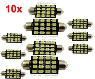 10x 42mm Car Interior 16 SMD White Led light 3528 Dome lamp Bulb 211 2 578 212 2 Automotive