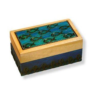 "Wooden Box, 5017, Traditional Polish Keepsake Box, Turquoise with Fish Design, 3.25""x2""x1.5"". : Other Products : Everything Else"