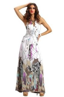 Amour Women's Ruched Floral Print Party Long Maxi Dress at  Women�s Clothing store