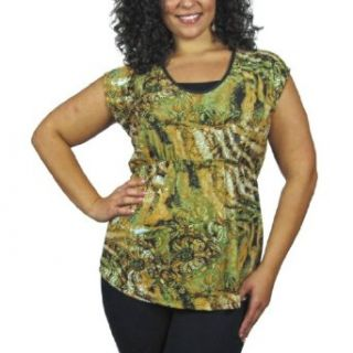 599fashion Plus size fashion short sleeve round neck top w/decorative open back id.22834a 2XL at  Women�s Clothing store