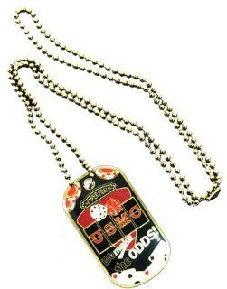 "United States Armed Forces Division Usmc Marines Semper Fidelis ""We Make the Odds"" Gambling Casino Logo Symbols   ALL Metal Military Dog Tag Luggage Tag Key Chain Metal Chain Necklace: Jewelry"