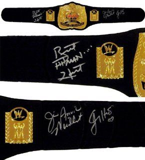 The Hart Foundation   Bret Hart, Jim Neidhart & Jimmy Hart Signed Replica Tag Team Champ Belt: Sports Collectibles