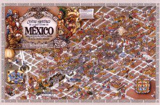 """Artistic Mexico City Map   Mapa Turistico de la ciudad de Mexico   Mapa Cultural del DF Mexico   Distrito Federal DF mapa map (26""""x33"""")"""