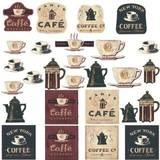 RoomMates RMK1254SCS Coffee House Peel & Stick Wall Decals   Wall Decor Stickers