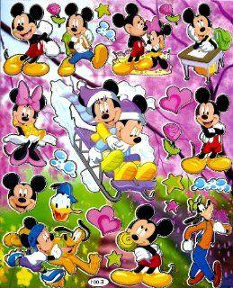 Mickey & Minnie Mouse Winter Snow Sled Disney Sticker Sheet E001 school desk lollipop