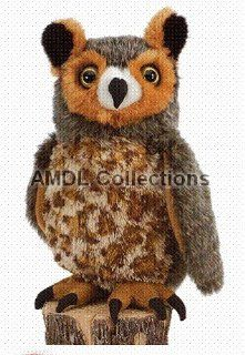 """Wildlife / Domestic Animals  Great Horned Owl 10"""" Plush Stuffed Animal Toy Toys & Games"""