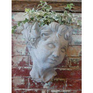 Designer Stone Cherub Head Wall Planter  Patio, Lawn & Garden