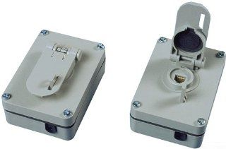 Allen Tel Products AT635WP 1 Port, USOC Wiring, 8 Position, 8 Conductor Outdoor Weather Resistant Surface Mounted Outlet Jack, Gray   Outlet Plates