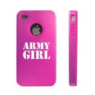 Apple iPhone 4 4S 4G Hot Pink DD663 Aluminum & Silicone Case Army Girl: Cell Phones & Accessories