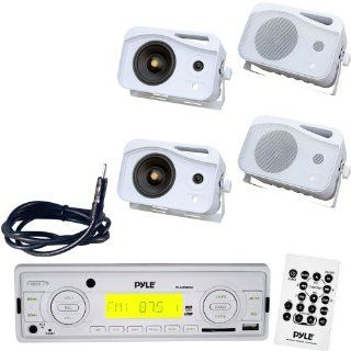 "Pyle Marine Radio Receiver, Speaker and Cable Package   PLMR88W AM/FM MPX IN Dash Marine MP3 Player/USB, MMC & SD Memory Card Function   2x PLMR25 2 Pairs of 4'' 300 Watt 3 Way Water Proof Mini Box Speaker System (White)   PLMRNT1 22"" Weat"