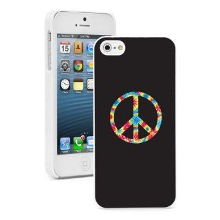 Apple iPhone 5 5S White 5W674 Hard Back Case Cover Color Tye Dyed Peace Sign Symbol: Cell Phones & Accessories