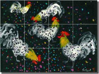 """Confetti Chickens by Bonnie Siebert   Rooster Chicken Ceramic Tile Mural 24"""" x 18"""" Kitchen Shower Backsplash"""
