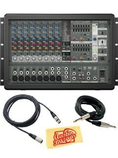 Behringer Europower PMP1680S 1600 Watt 10 Channel Powered Mixer Bundle with XLR Cable, Instrument Cable, and Polishing Cloth Musical Instruments