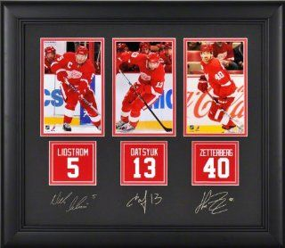 Detroit Red Wings Framed Photographs  Details: Niklas Kronwall, Pavel Datsyuk, Henrik Zetterberg, Facsimile Signatures, Jersey Back Replica Miniatures   Sports Fan Photographs