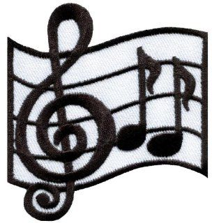 Musical Notes G Clef Eighth Music Scale Classical Applique Iron on Patch S 692 Made of Thailand
