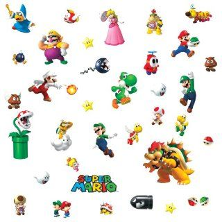 Roommates 675Scs Nintendo New Super Mario Wii Peel And Stick Wall Decals   Decorative Wall Appliques