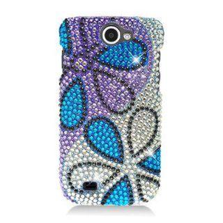 For Samsung Exhibit II 4G/Ancora/SGH T679 DIAMOND Case Flower Blue Purple Silver