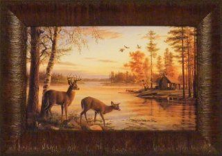 Quiet Evening by Mary Pettis 11x15 Deer Doe Buck Lake Log Cabin Framed Art Picture   Prints