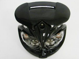 TMS Universal Streetfighter Stunt Black Head Light with Brackets For Motorcycle Enduro Naked Dual Sport Dirt Bike Street Fighter Buell MX F4i ZX6R CBR Honda KTM Kawasaki Arctric Cat Yamaha Polaris Can am: Automotive