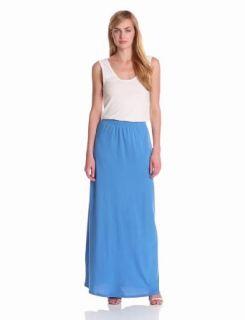 Bobi Women's Maxi Colorblock Dress, White/Tropez, Medium at  Women�s Clothing store: Cotton Maxi Dress