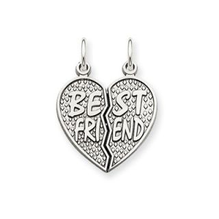 Jewelryweb 14k White Gold Polished Best Friend Heart Pendant  Measures