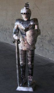 4 Foot SILVER Suit of Armor   Medieval Knight in Long Sword & Shield Stance : Other Products : Everything Else