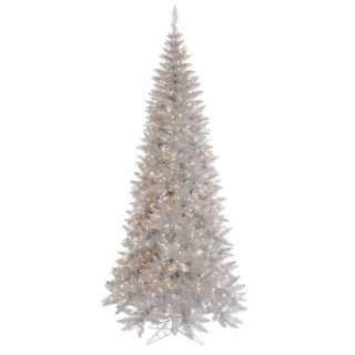 Silver Slim Fir Artificial Christmas Tree with 300 Mini Clear Lights
