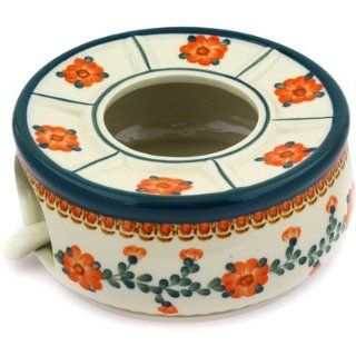 Polmedia Polish Pottery 9 inch Stoneware Heater with Candle Holder H2250E Hand Painted from Ceramika Artystyczna in Boleslawiec Poland. Shape S358C(737) Pattern P5650A(561AQ)   Napkin Holders